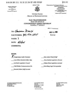 Primary view of object titled 'Executive Correspondence – Letter dtd 08/08/05 to Chairman Principi from FLA Representatives Ander Crenshaw and Cliff Stearns'.