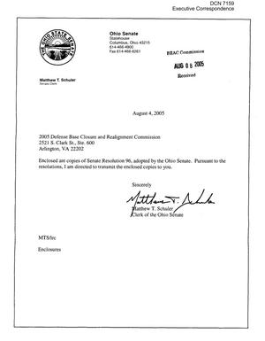 Primary view of object titled 'Executive Correspondence – Letter dtd 08/04/05 to the Commission from the Clerk of the Ohio Senate'.