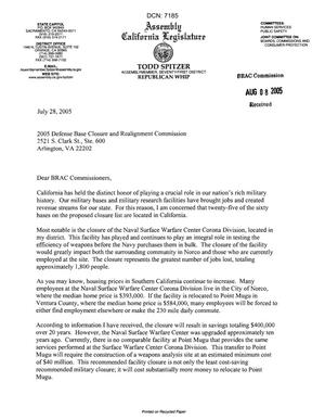 Primary view of object titled 'Executive Correspondence - Letter dtd 07/28/05 to the Commission from CA Assembly member and Republican Whip Todd Spitzer'.