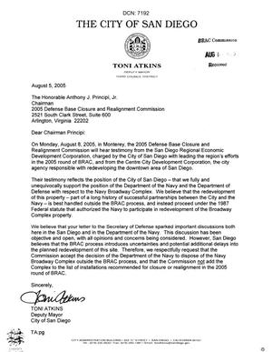 Primary view of object titled 'Executive Correspondence - Letter dtd 08/5/05 to Chairman Principi from San Diego CA Deputy Mayor Toni Atkins'.