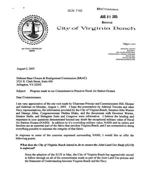 Primary view of object titled 'Executive Correspondence - Letter dtd 08/03/05 to the Commission from Virginia Beach VA Mayor Meyera Oberndorf'.