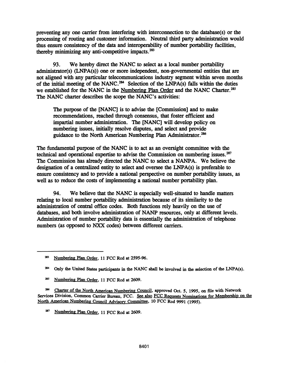 FCC Record, Volume 11, No. 15, Pages 7970 to 8559, July 8 - July 19, 1996                                                                                                      8401