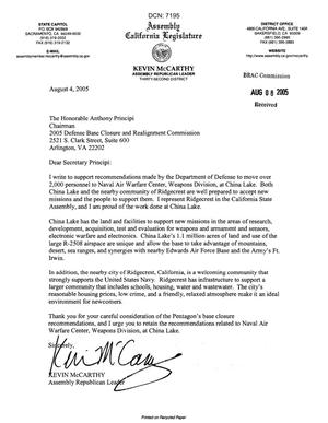 Primary view of object titled 'Executive Correspondence - Letter dtd 08/04/05 to Chairman Principi from CA Assembly Republican Leader Kevin McCarthy'.