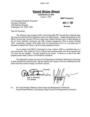 Primary view of object titled 'Executive Correspondence - Letter dtd 08/03/05 to the Secretary of Defense (copied to Commissioner Newton) from NM Senators Domenici and Bingaman'.