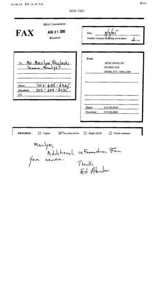 Primary view of object titled 'Fax dtd 08/09/05 to BRAC Commission Senior R&A analyst Marilyn Wasleski from American Federation of Government Employees Local 201 President Ed Abounader'.