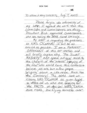 40 Letters from concerned citizens in reference to NAS Oceana