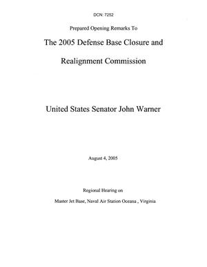 Primary view of object titled 'Statements and Testimony - Regional Hearing DC - Includes: Prepared Remarks by Senator John Warner; Letter from John Warner; F-35 Joint Strike Fighter Community Noise Presentation; Prepared Testimony by Senator John Warner'.