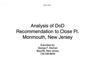 Primary view of object titled 'Community Input - Fort Monmouth - Analysis of DoD Recommendation to Close Ft. Monmouth Presentation - Submitted by George F. Kiernan'.