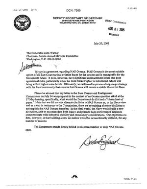Primary view of object titled 'Letter from Deputy Secretary of Defense Gordon England to Senator Warner. dtd 20 July 2005'.