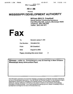 Primary view of object titled 'Letter from William S. Crawford of the Mississippi Development Authority to Commissioner Hill dtd 08 August 2005'.