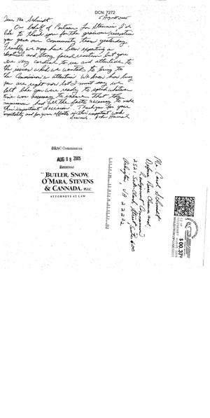 Primary view of object titled 'Letter from John Harral to Mrs. Carol Schmidt of the BRAC Commission.'.