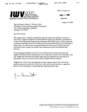 Primary view of object titled 'Letter from IWV member Jan Bennett to Chairman Principi. dtd 10 August 2005'.