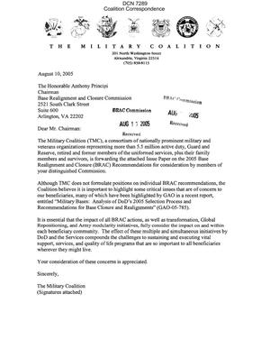 Primary view of object titled 'Letter dtd 08/10/05 to Chairman Principi from The Military Coalition (TMC)'.