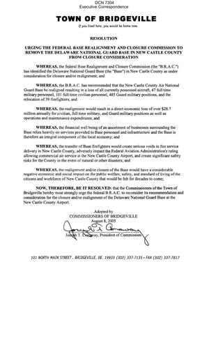 Resolution dated 08/08/05 from the Town of Bridgeville, DE