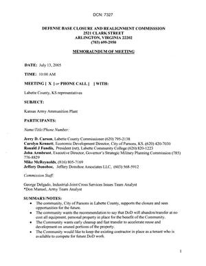 Primary view of object titled '[Memorandum of Meeting: Kansas Army Ammunition Plant, July 13, 2005]'.