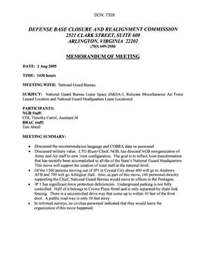 Primary view of object titled '[Memorandum of Meeting: National Guard Bureau, August 2, 2005]'.