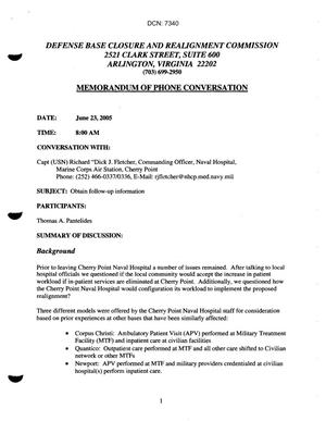 Primary view of object titled 'Memo of Phone Conversation - 7/23/05 - Follow up information on Marine Corps Cherry Point Naval Hospital -'.