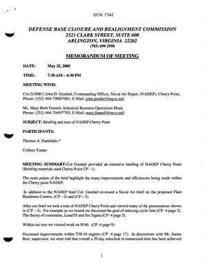 Primary view of object titled '[Memorandum of Meeting: Naval Air Depot Cherry Point, North Carolina, May 25, 2005]'.