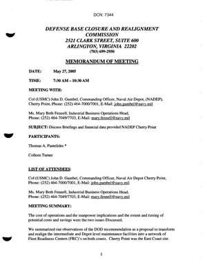 Primary view of object titled '[Memorandum of Meeting: Naval Air Depot Cherry Point, North Carolina, May 27, 2005]'.