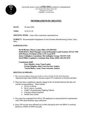Primary view of object titled '[Memorandum of Meeting: Joint Systems Manufacturing Center, Lima, Ohio, June 29, 2005]'.