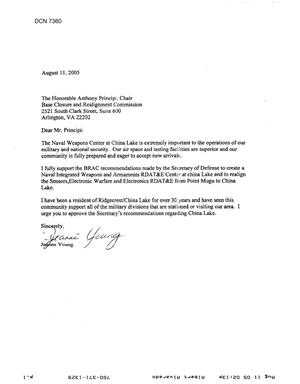 Primary view of object titled 'Community Correspondence – Letter dtd 08/11/2005 to Chairman Principi from Jeanne Young'.