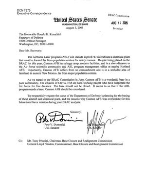Primary view of object titled 'Executive Correspondence – Letter dtd 08/3/2005 to Chairman Principi and Commissioner Newton from Senators Pete Domenici and Jeff Bingaman'.