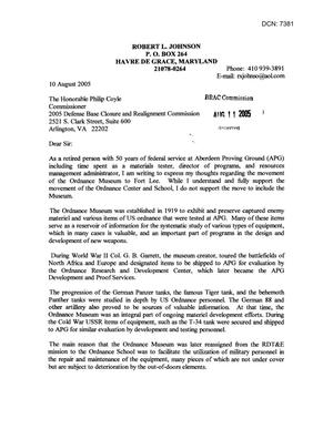 Primary view of object titled 'Letter from Robert L. Johnson to Commissioner Coyle dtd 10 August 2005'.