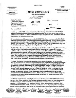Primary view of object titled 'Letter from Sen Santorum to Admiral Vern Clark dtd 25 Feb 2005'.
