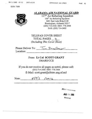 Primary view of object titled 'Fax from Lt Col Scott Grant to Tim MacGregor dtd 08/11/05'.