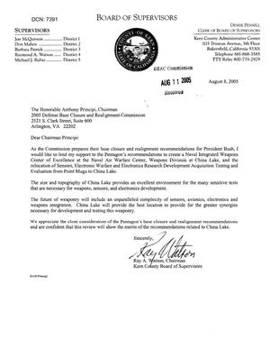 Primary view of object titled 'Fax from Ray A. Watson, Chairman Kern County (CA) Board of Supervisors to Chairman Principi dtd 11 Aug 2005'.