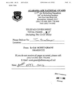 Primary view of object titled 'Fax 2 from Lt Col Scott Grant to Tim MacGregor dtd 08/11/05'.