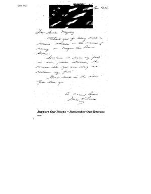 Primary view of object titled 'Letters From Niagara Falls Air Force Base Citizens'.