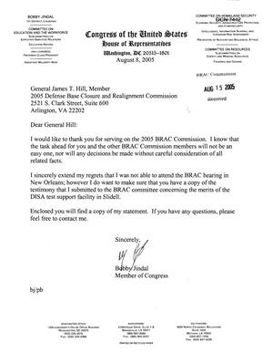 Primary view of object titled 'Executive Correspondence - Letter from Congressman Bobby Jindal (Louisiana) Copy of Statement Submitted to Commission regarding DISA Test Support Facility in Slidell LA'.