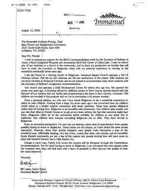 Primary view of object titled 'Executive Correspondence - -letter from Pastor Bill Logan Immanuel Baptist Church Ridgecrest CA'.