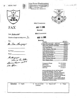 Primary view of object titled 'Fax from North Dakota Governor John Hoeven to ANG LTG Blum dtd 5 Aug 05'.