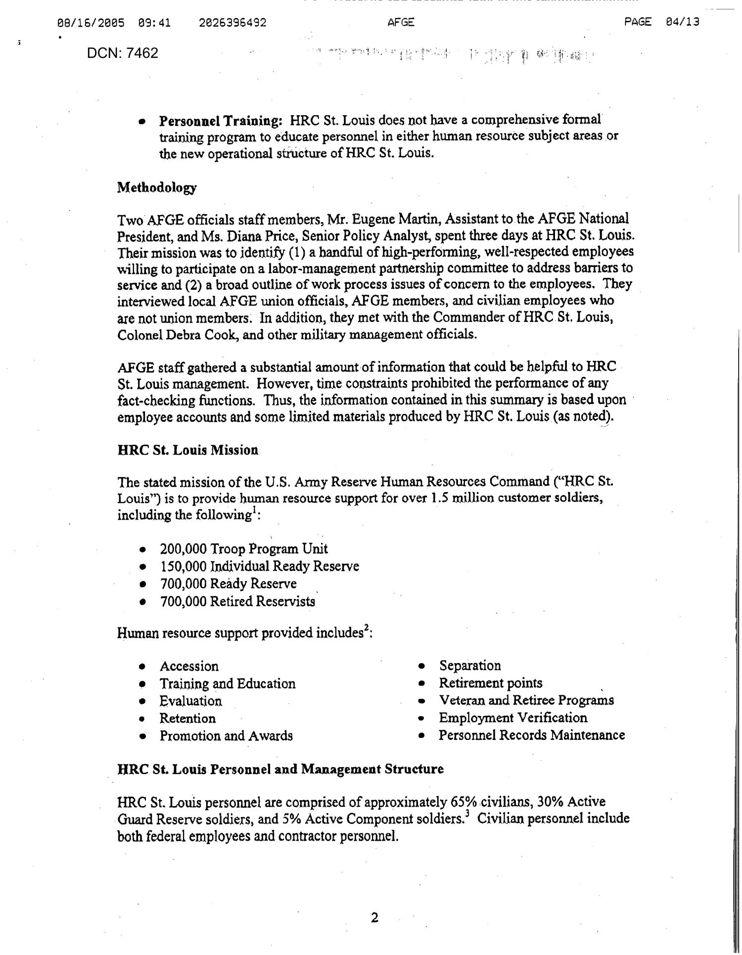Fax from American Federation of Government (AFGE) Rep Diana Price to A&R Analyst Tim Abrell dtd 16 Aug 2005                                                                                                      [Sequence #]: 4 of 13