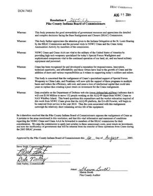 Primary view of object titled 'Executive Correspondence - Resolution # 2005-02 Pike County Indiana Board of Commissioners'.