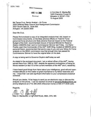 Primary view of object titled 'Letters from Lt Col Allan Manteuffel to BRAC Analysts Ken Small, Tanya Cruz, and Mike Flinn dtd 15 August 2005'.