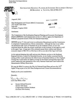 Primary view of object titled 'Coalition Correspondence – Letter dtd 08/8/2005 to all BRAC Commissioners from Lorri-Ann Miller'.