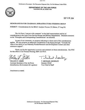 Primary view of object titled 'Memorandum dtd 09/09/04 for the Chairman of the Infrastructure Steering Group from Assistant Secretary of the Air Force Nelson Gibbs and AF Vice Chief of Staff General T. Michael Moseley'.