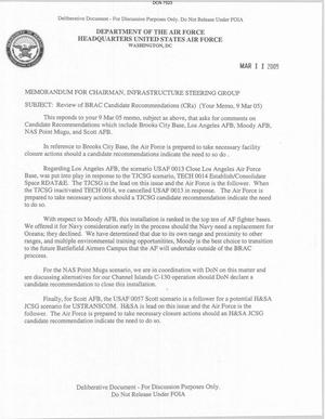 Primary view of object titled 'Memorandum dtd 03/11/05 for the Chairman of the Infrastructure Steering Group from AF Vice Chief of Staff General T. Michael Moseley'.