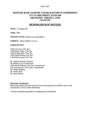 Primary view of object titled '[Memorandum of Meeting: Submarine Base New London & Naval Air Station Oceana, August 12, 2005]'.