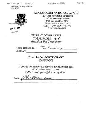 Primary view of object titled 'Executive Correspondence – Letter dtd 08/11/2005 to Tim MacGregor from Lt Col Scott Grant'.