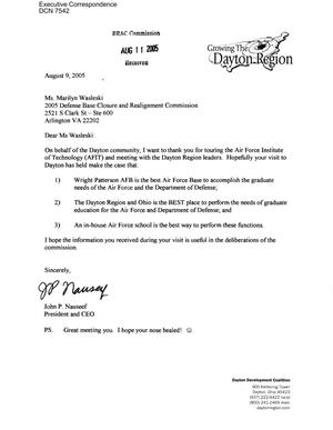 Primary view of object titled 'Coalition Correspondence – Letter dtd 8/9/2005 to Commissioners Newton and Skinner, Ms Wasleski, and Mr Carroll from John Nauseef'.