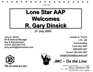 Primary view of object titled 'Community Input - Lone Star AAP Welcomes R. Gary Dinsick 7/27/2005 Presentation'.
