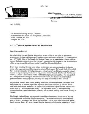 Primary view of object titled 'Coalition Correspondence -  Letter from Nevada Hospital Association - President/CEO Bill M. Welch and Dr. Christopher K. Lake'.