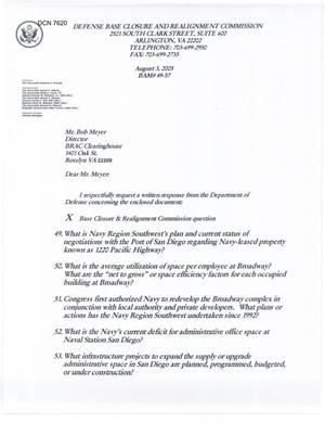 Primary view of object titled 'Department of Defense Clearinghouse Response: DoD Clearinghouse response to a letter from the BRAC Commission regarding Naval Station San Diego'.