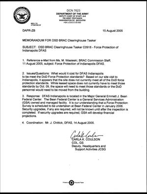 Primary view of object titled 'Department of Defense Clearinghouse Response: DoD Clearinghouse response to a letter from the BRAC Commission regarding DFAS Indianapolis'.