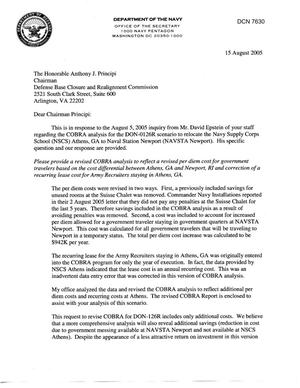 Primary view of object titled 'Department of Defense Clearinghouse Response: DoD Clearinghouse response to a letter from the BRAC Commission regarding NSCS Athens to NAVSTA Newport'.
