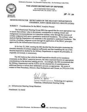 Primary view of object titled 'Memorandum dtd 09/28/04 from Infrastructure Steering Group (ISG) Chairman Michael Wynn to Secretaries of the Military Departments and Chairmen Joint Cross Service Groups (JCSGs)'.